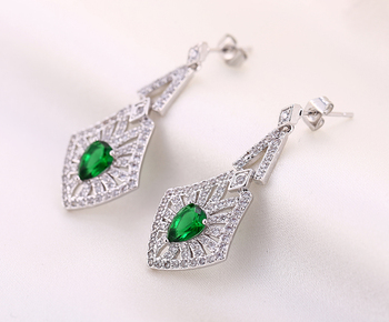 H&F wholesale 2016  rhombus color CZ stone female earrings white 1 women's eardrop nice gift