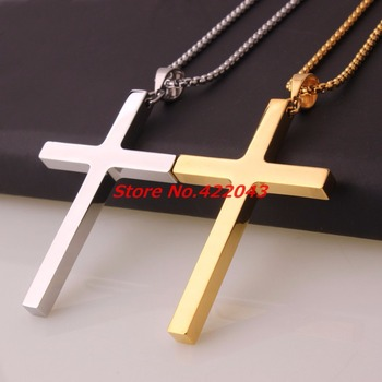 Stainless Steel Cross Pendant & Necklace For Men/Women's Silver or Gold color Chain Religious Christian Jewelry